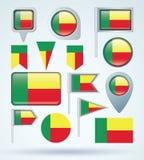 Collection Flag of Benin, vector illustration Stock Photos