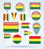 Collection Flag of Bolivia, vector illustration Stock Image