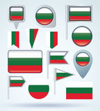 Collection Flag of Bulgaria, vector illustration Royalty Free Stock Image