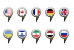 Collection of flag button design. Vector Stock Image