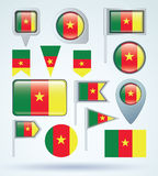 Collection Flag of cameroon, vector illustration Royalty Free Stock Photography