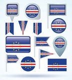 Collection Flag of  Cape Verde, vector illustration Stock Image