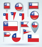 Collection Flag of Chile, vector illustration. Stock Photography