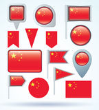 Collection Flag of China, vector illustration. Royalty Free Stock Photo