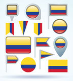 Collection Flag of Colombia, vector illustration. Stock Photography