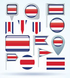 Collection Flag of Costa rica, vector illustration Royalty Free Stock Image