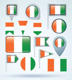Collection Flag of cote d ivoire, vector illustration Stock Images