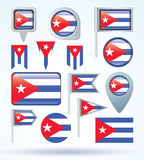 Collection Flag of Cuba, vector illustration Stock Photo