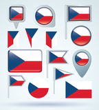 Collection Flag of czech republic, vector illustration Stock Photos