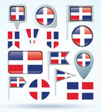 Collection Flag of dominican republic, vector illustration. Royalty Free Stock Photography