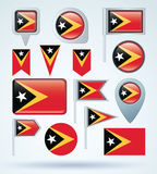 Collection Flag of East Timor, vector illustration Royalty Free Stock Images