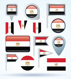 Collection Flag of Egypt, vector illustration Royalty Free Stock Images