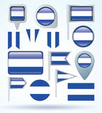 Collection  Flag of  El Salvador, vector illustration Royalty Free Stock Images