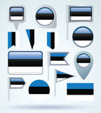 Collection Flag of Estonia, vector illustration Stock Photography