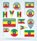 Collection Flag of Ethiopia, vector illustration Royalty Free Stock Photography