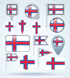 Collection Flag of Faroe Islands, vector illustration Royalty Free Stock Photo