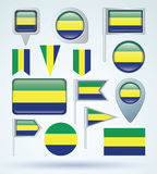 Collection Flag of Gabon, vector illustration Stock Photos