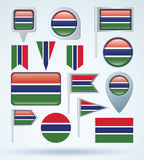 Collection Flag of Gambia, vector illustration Stock Images