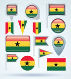 Collection Flag of Ghana, vector illustration Stock Photography