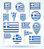 Collection Flag of Greece, vector illustration. Royalty Free Stock Photography