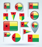 Collection Flag of guinea bissau, vector illustration Stock Photos