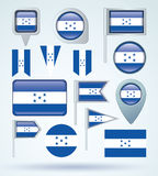 Collection Flag of Honduras, vector illustration Royalty Free Stock Photo