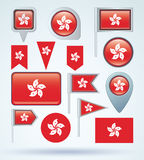 Collection Flag of Hong kong, vector illustration. Stock Images