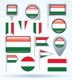 Collection Flag of hungary, vector illustration Stock Photo