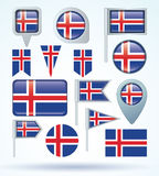 Collection Flag of Iceland, vector illustration Royalty Free Stock Images