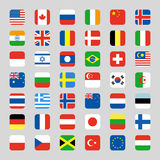 Collection of flag icon rounded square flat vector illustration Royalty Free Stock Photos