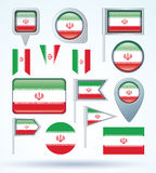 Collection Flag of Iran, vector illustration Royalty Free Stock Images