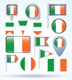 Collection Flag of Ireland, vector illustration. Royalty Free Stock Photo