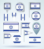Collection Flag of Israel, vector illustration Stock Photo