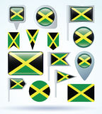 Collection Flag of Jamaica, vector illustration. Stock Photo