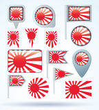Collection Flag of Japan  imperial, vector illustration Stock Photos