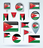 Collection Flag of  Jordan, vector illustration Stock Photography