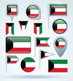 Collection Flag of Kuwait, vector illustration. Stock Photography