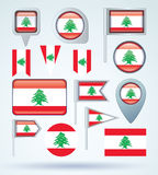 Collection Flag of Lebanon, vector illustration Royalty Free Stock Image