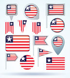 Collection Flag of Liberia, vector illustration Royalty Free Stock Photo