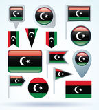 Collection Flag of Libya, vector illustration Royalty Free Stock Image