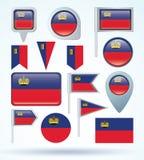 Collection Flag of  Liechtenstein, vector illustration. Stock Image