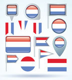 Collection Flag of Luxembourg, vector illustration Stock Photography