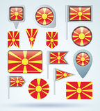 Collection Flag of  Macedonia, vector illustration. Stock Photo