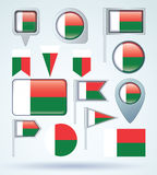 Collection Flag of Madagascar, vector illustration Royalty Free Stock Photo
