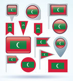 Collection Flag of Maldives, vector illustration Royalty Free Stock Photos