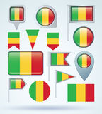 Collection Flag of Mali, vector illustration Stock Images