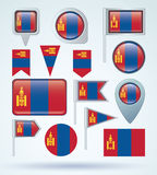 Collection Flag of  Mongolia, vector illustration Royalty Free Stock Photos