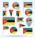 Collection Flag of Mozambique, vector illustration Royalty Free Stock Image