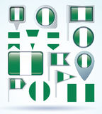 Collection Flag of Nigeria, vector illustration. Stock Image