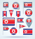 Collection Flag of North Corea, vector illustration Royalty Free Stock Photography